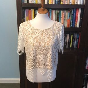 Express white lace crop top - size medium
